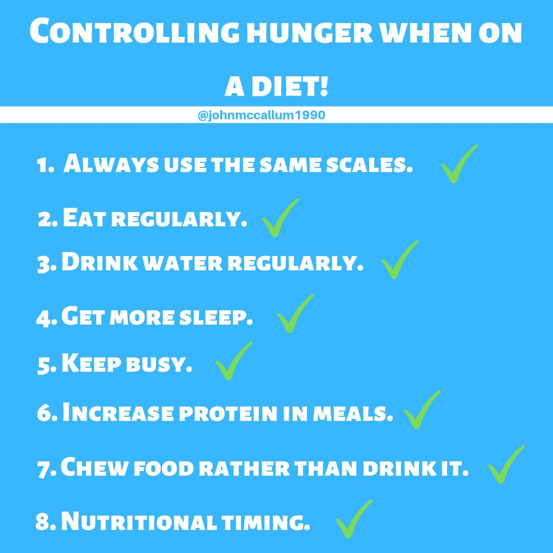 Controlling hunger when on a diet